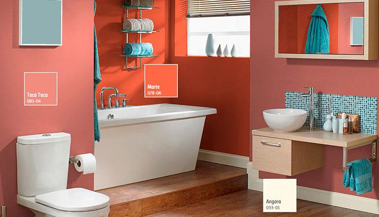Decoraci n de espacios para ba os comex for Pinturas para interiores colores modernos