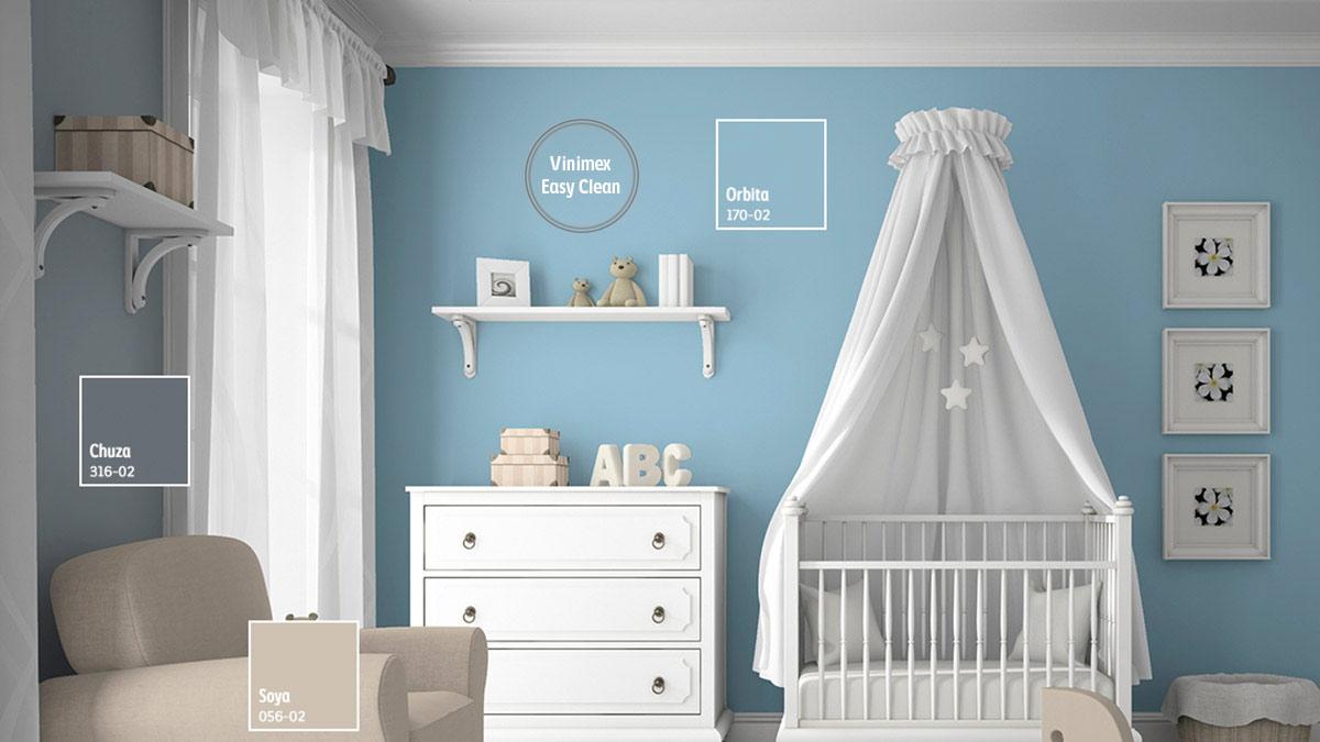 Decoraci n de espacios para beb s comex for Q color combina con el gris