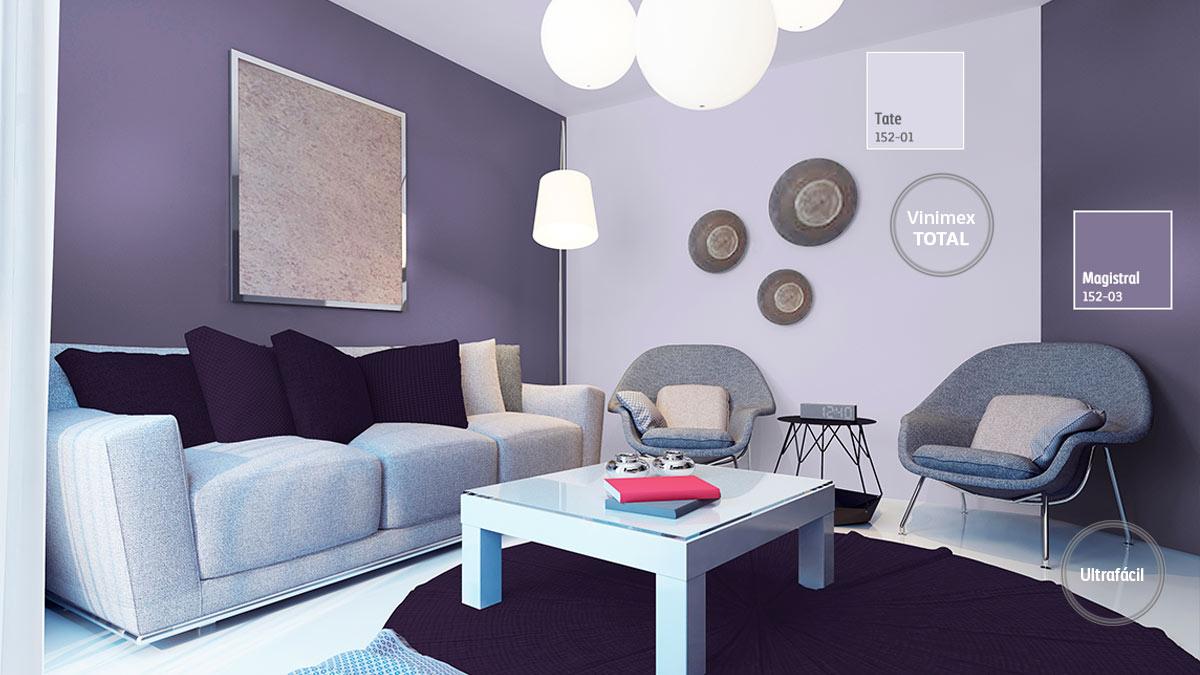 Decoraci n de espacios para salas comex for Combinacion de colores para paredes interiores