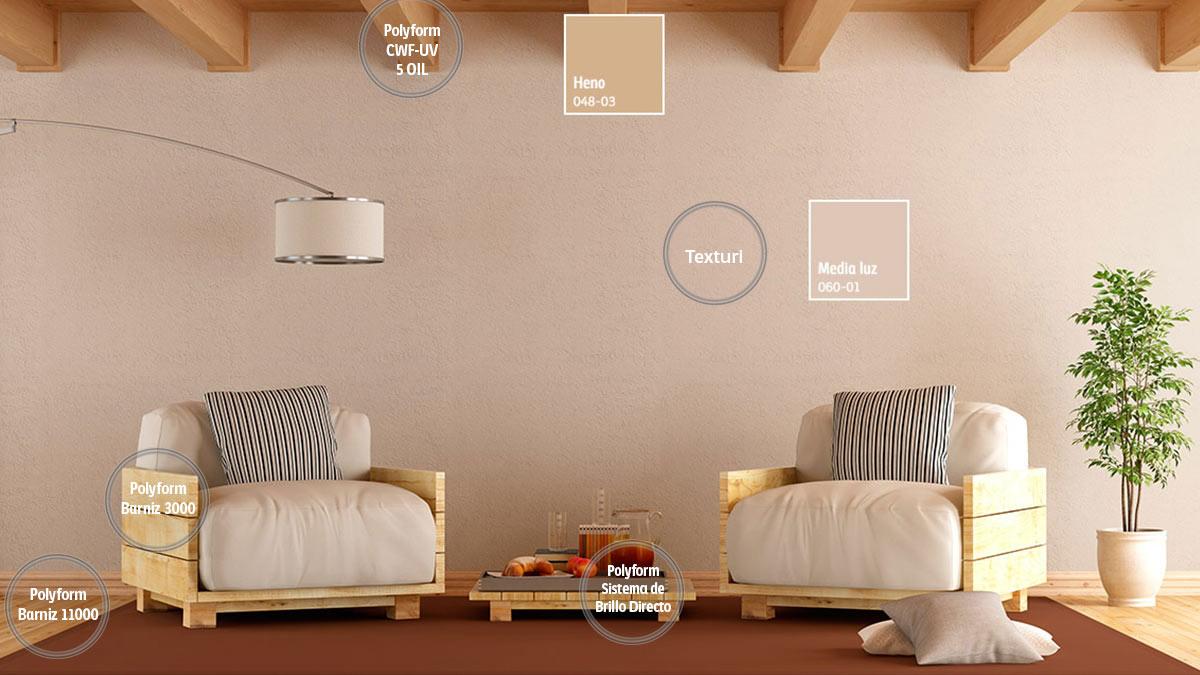 Decoraci n de espacios para salas comex - Pinturas para madera interior ...